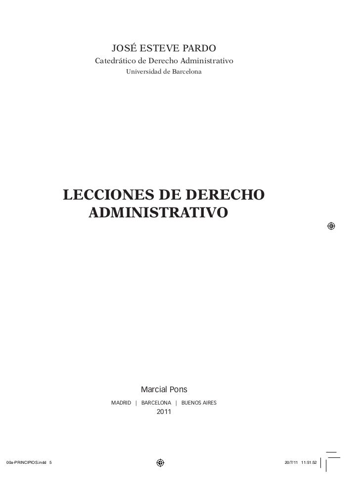 Lecciones De Derecho Administrativo, José Esteve Pardo, ISBN 9788497689007
