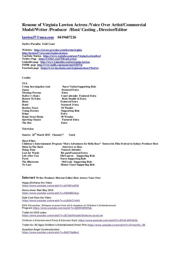 resume of virginia lawton july 2016