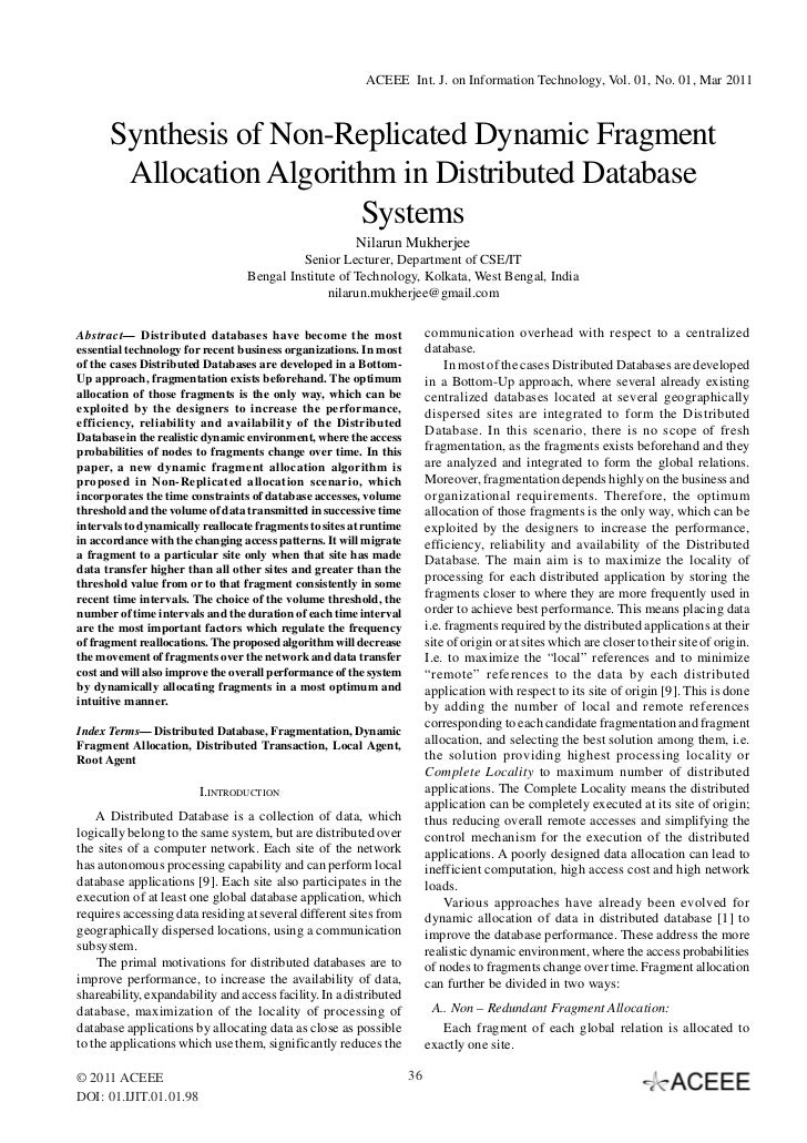 Synthesis of Non-Replicated Dynamic Fragment Allocation Algorithm in Distributed Database Systems