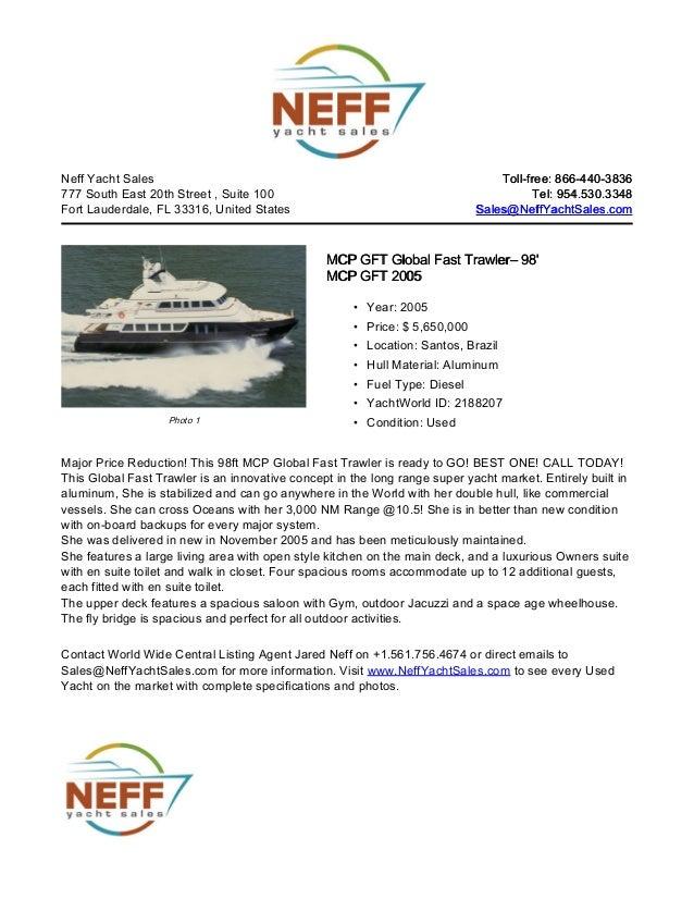 98' 2005 mcp gft global fast trawler shambhala for sale   neff yacht sales