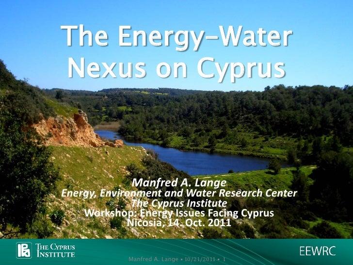 Water and energy nexus_M Lange_Oct  2011