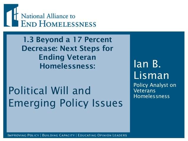1.3 Beyond a 17 Percent Decrease: Next Steps for Ending Veteran Homelessness