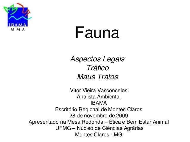 Fauna Aspectos Legais Tráfico Maus Tratos Vitor Vieira Vasconcelos Analista Ambiental IBAMA Escritório Regional de Montes ...