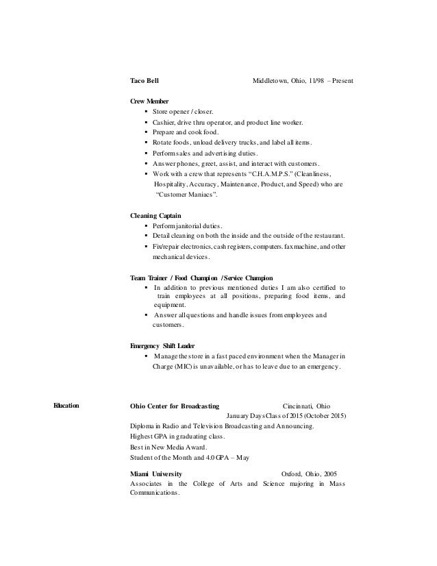 Resume Public Policy And Economic Analyst Senior Economic Researcher At The  Information And De Resume Sample  Taco Bell Resume