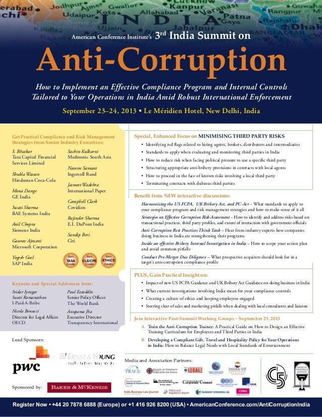 ACI's 3rd India Summit on Anti-Corruption - Brochure Available!