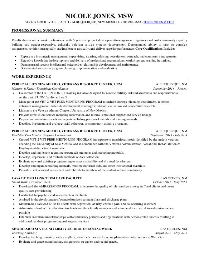 Sample lmsw resume