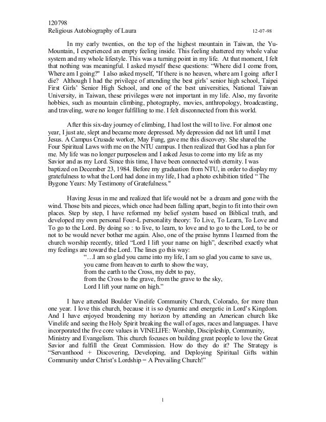 120798 Religious Autobiography of Laura 12-07-98 In my early twenties, on the top of the highest mountain in Taiwan, the Y...