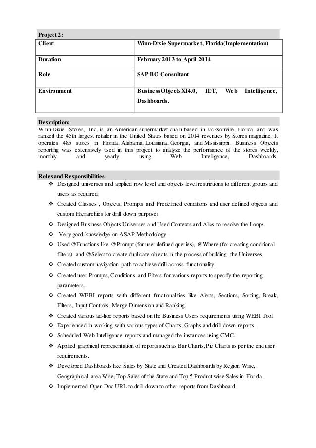 28+ [ Sap Business Objects Resume ] | Crystal Xcelsius Resume ...