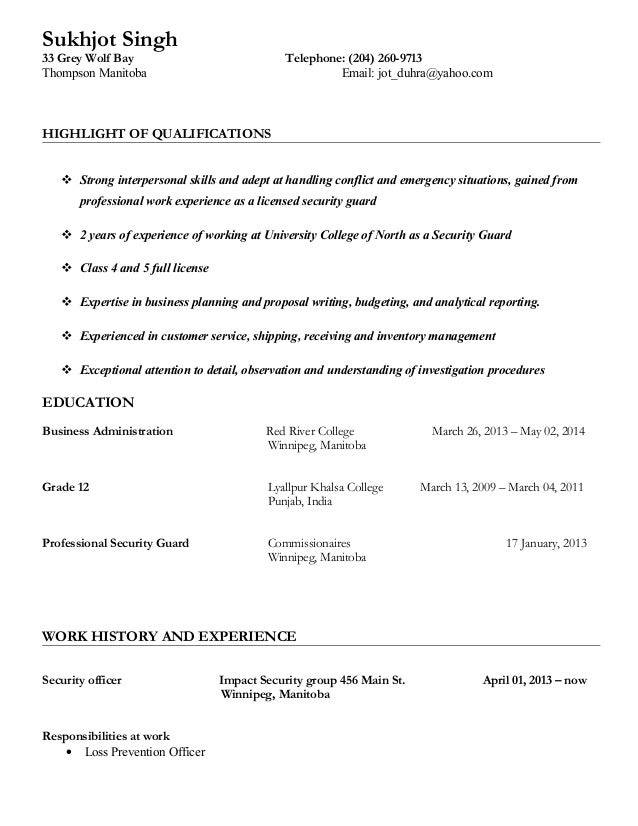 Security Guard Resume. Security Officer Resume Example Resume Sampl ...
