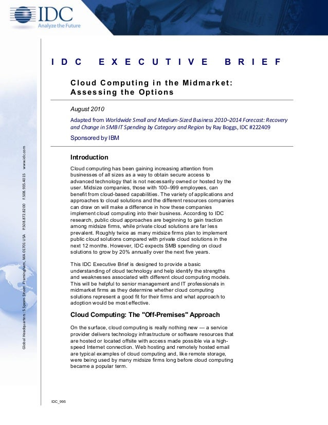 Cloud Computing in the Midmarket: Assessing the Options