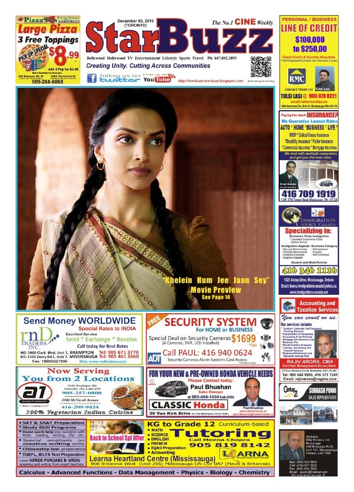 """""""Khelein Hum Jee Jaan Sey""""                                   Movie Preview                                    See Page 14B..."""