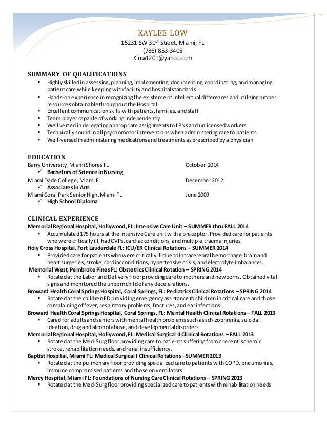 Nursing skills resume summary