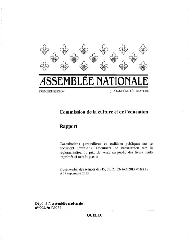Dépôt à l'Assemblée nationale : n° 996-20130925