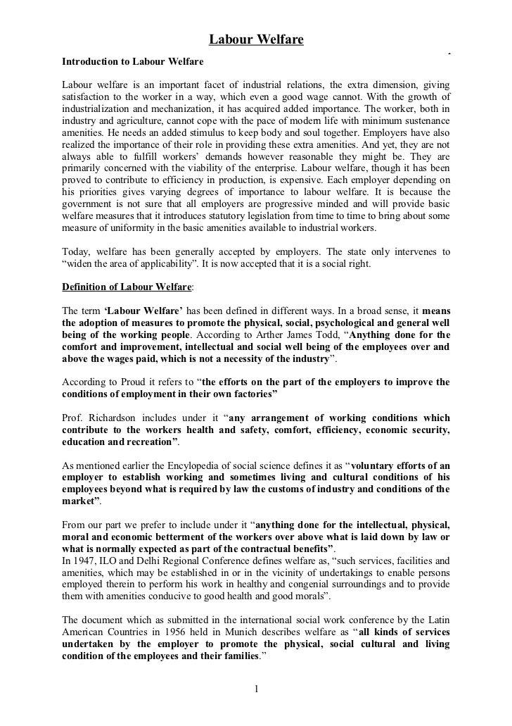 Labour Welfare                                                                                              .Introduction ...