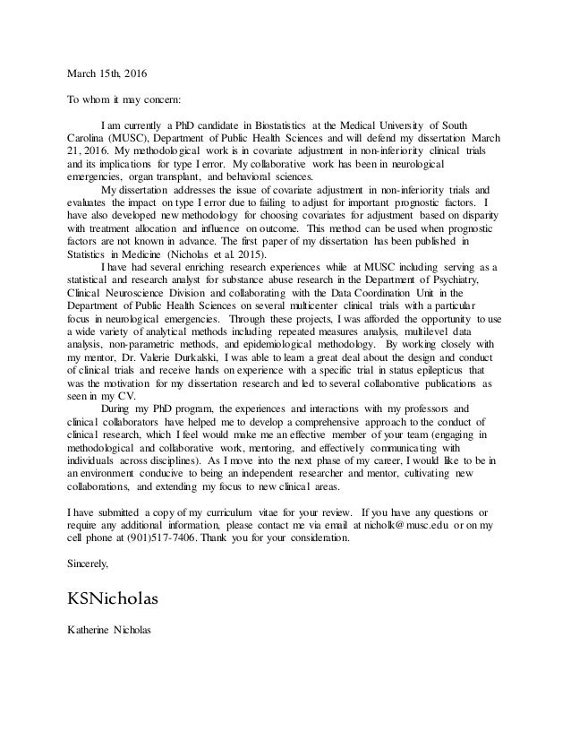 Phd candidate cover letter