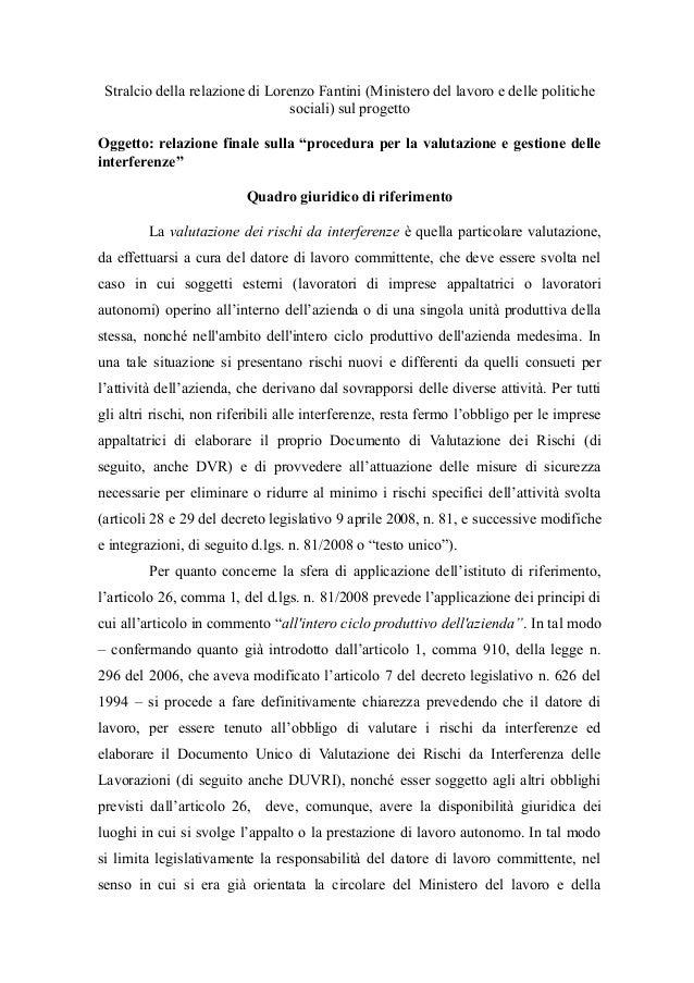 Stralcio della relazione di Lorenzo Fantini (Ministero del lavoro e delle politiche sociali) sul progetto Oggetto: relazio...