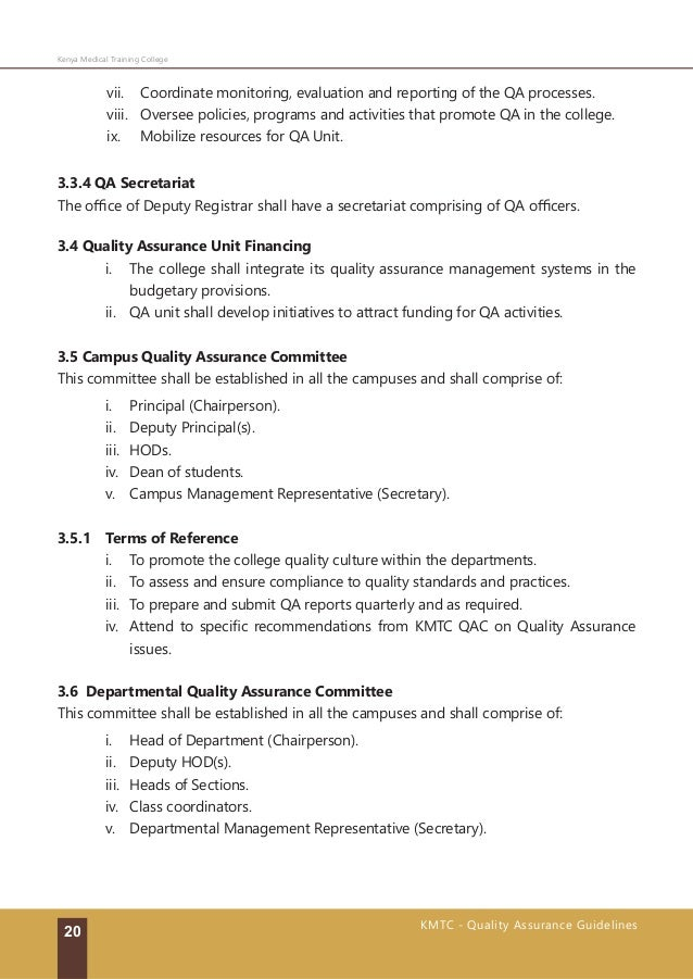 standards and guidelines for quality assurance