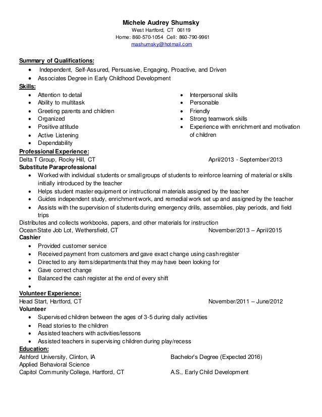 Resume Objective For Teaching Post  Child Development Resume