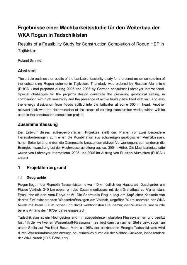 420 Ergebnisse einer Machbarkeitsstudie für den Weiterbau der WKA Rogun in Tadschikistan Results of a Feasibility Study fo...