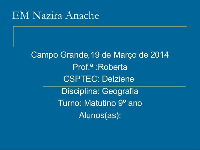 EM Nazira Anache Campo Grande,19 de Março de 2014 Prof.ª :Roberta CSPTEC: Delziene Disciplina: Geografia Turno: Matutino 9...