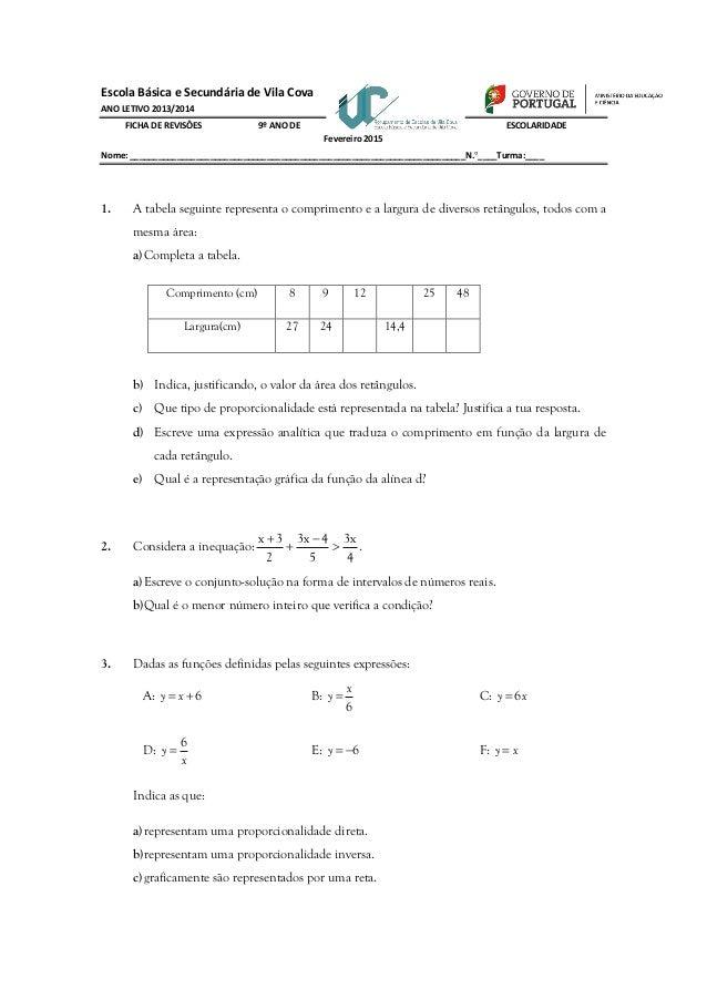 Escola Básica e Secundária de Vila Cova ANO LETIVO 2013/2014 FICHA DE REVISÔES 9º ANO DE ESCOLARIDADE Fevereiro 2015 Nome:...
