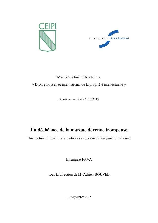 Master 2 à finalité Recherche « Droit européen et international de la propriété intellectuelle » Année universitaire 2014/...