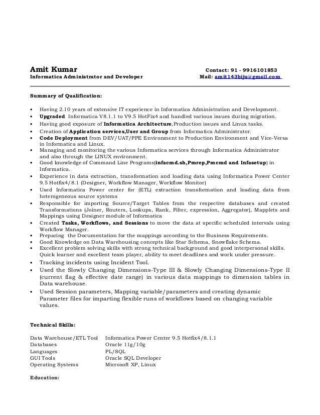 informatica resume for 3 years 28 images informatica