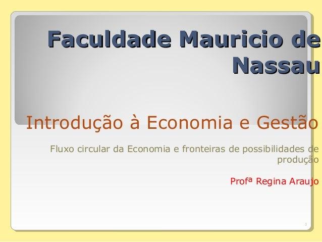 FFaaccuullddaaddee MMaauurriicciioo ddee  NNaassssaauu  Introdução à Economia e Gestão  Fluxo circular da Economia e front...