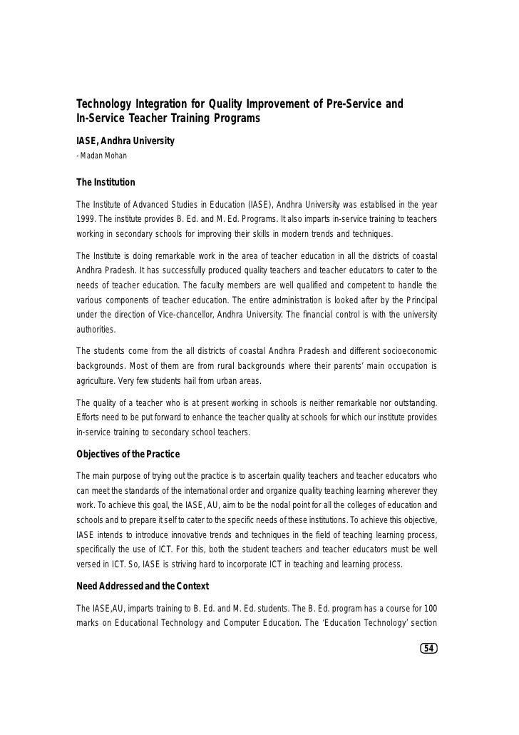 Infusing Dynamism in Teacher Education through ICT IntegrationTechnology Integration for Quality Improvement of Pre-Servic...