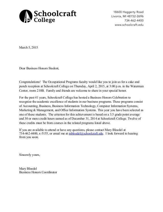 Business Honors Letter