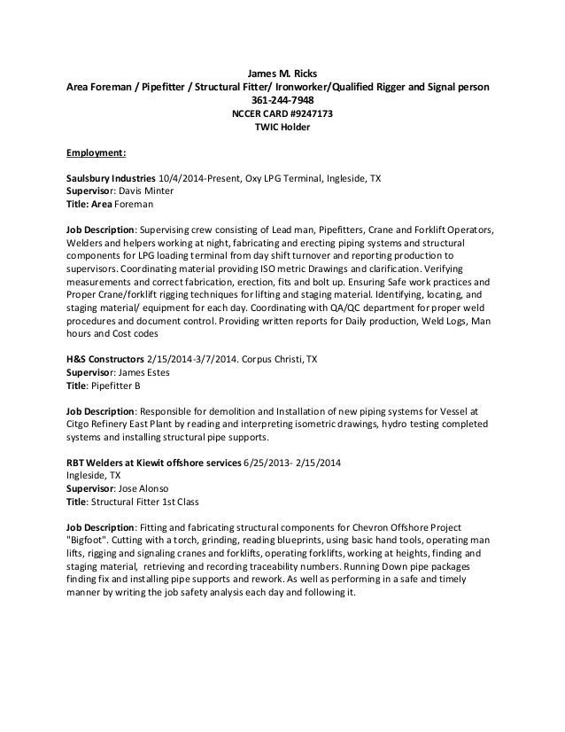 ironworker resume construction project manager resume sample – Ironworker Resume