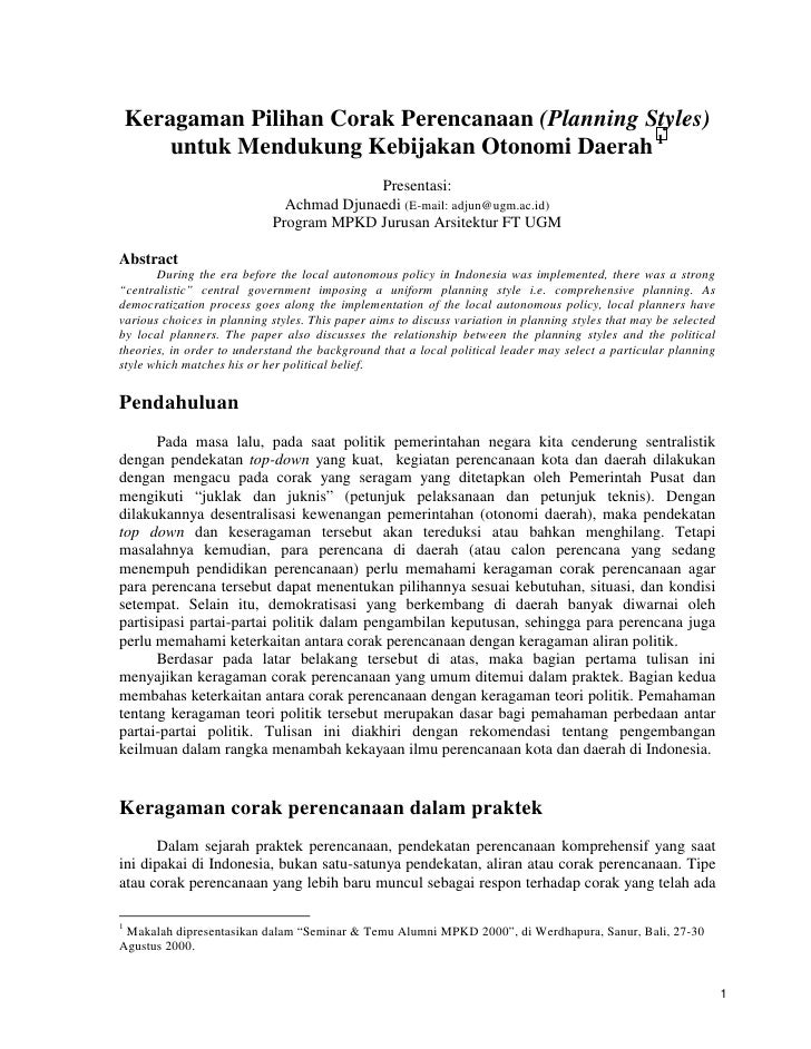 Keragaman Pilihan Corak Perencanaan (Planning Styles)         untuk Mendukung Kebijakan Otonomi Daerah 1                  ...