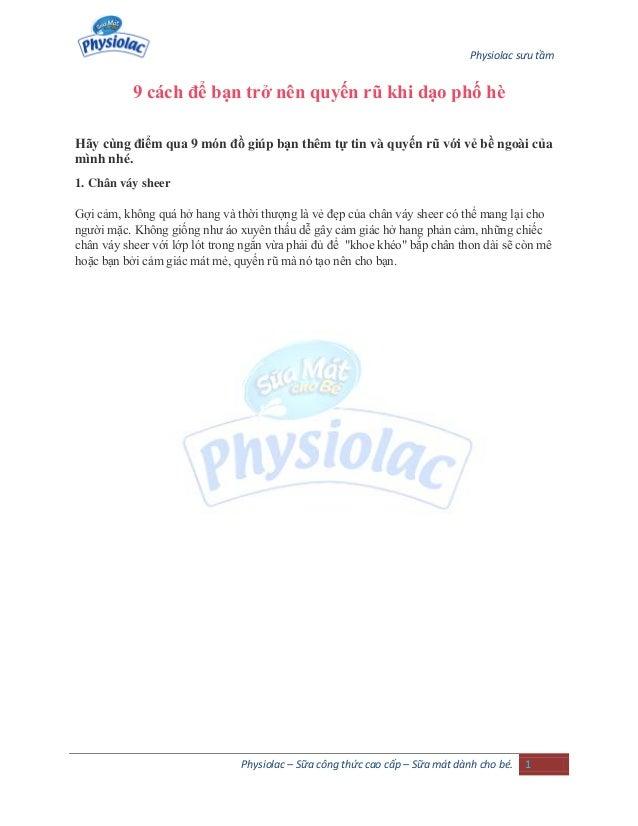 Physiolac sưu tầm Physiolac – Sữa công thức cao cấp – Sữa mát dành cho bé. 1 9 cách để bạn trở nên quyến rũ khi dạo phố hè...