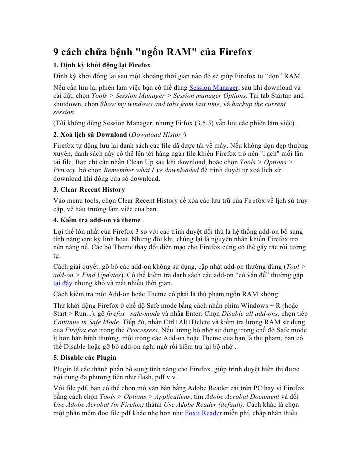 9 cách chữa bệnh ngốn ram của firefox