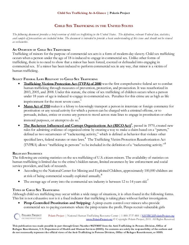 Child Sex Trafficking At-A-Glance | Polaris ProjectCHILD SEX TRAFFICKING IN THE UNITED STATESThe following document provid...