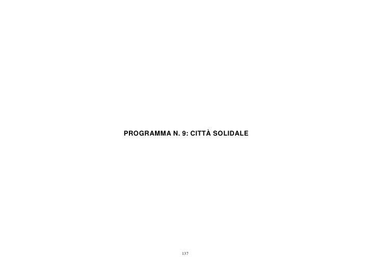 PROGRAMMA N. 9: CITTÀ SOLIDALE             137