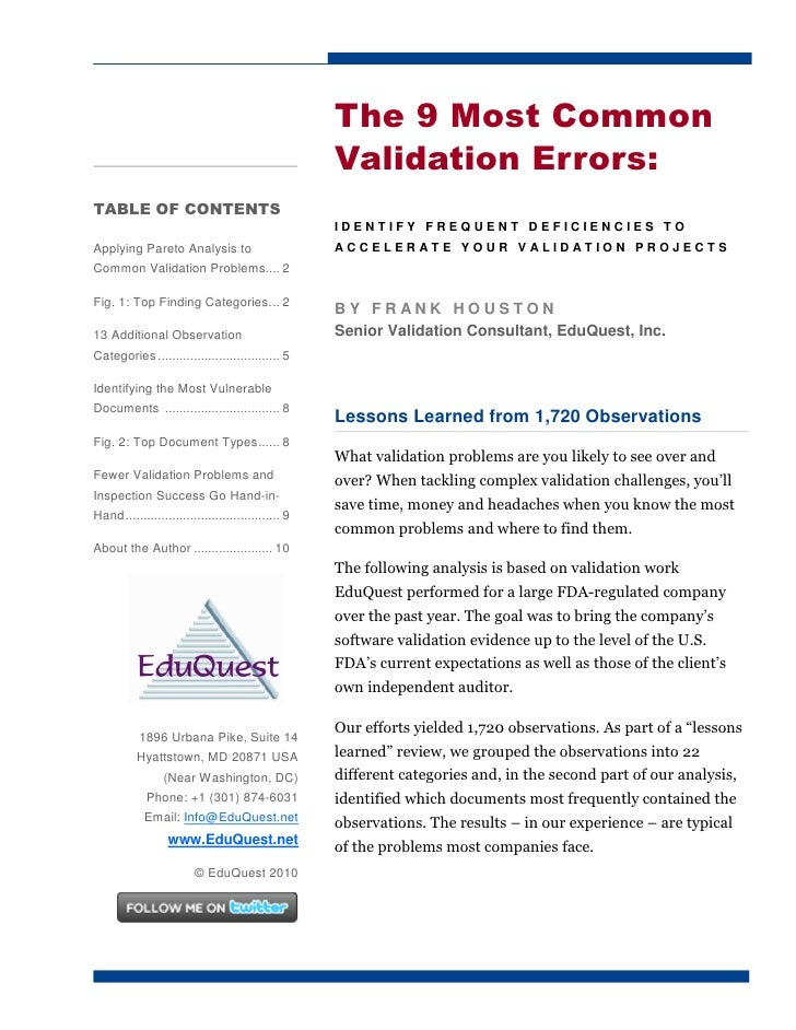 The 9 Most Common                                                     Validation Errors: TABLE OF CONTENTS                ...