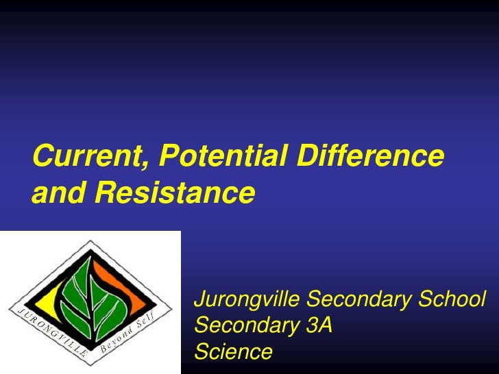 Current, Potential Differenceand Resistance           Jurongville Secondary School           Secondary 3A           Science