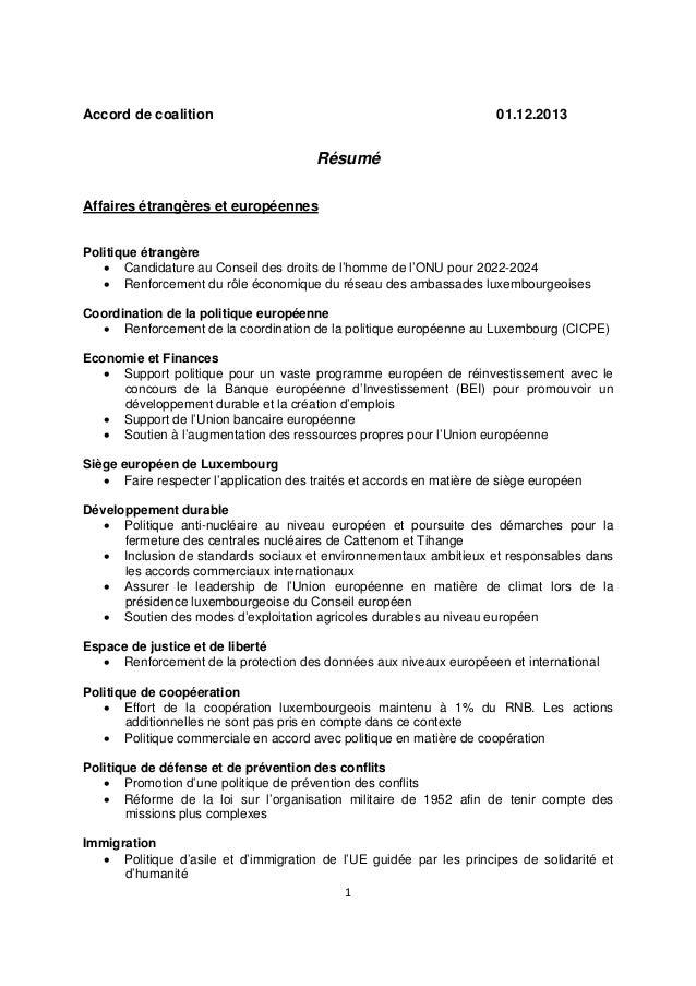 Accord de coalition  01.12.2013  Résumé Affaires étrangères et européennes Politique étrangère  Candidature au Conseil de...