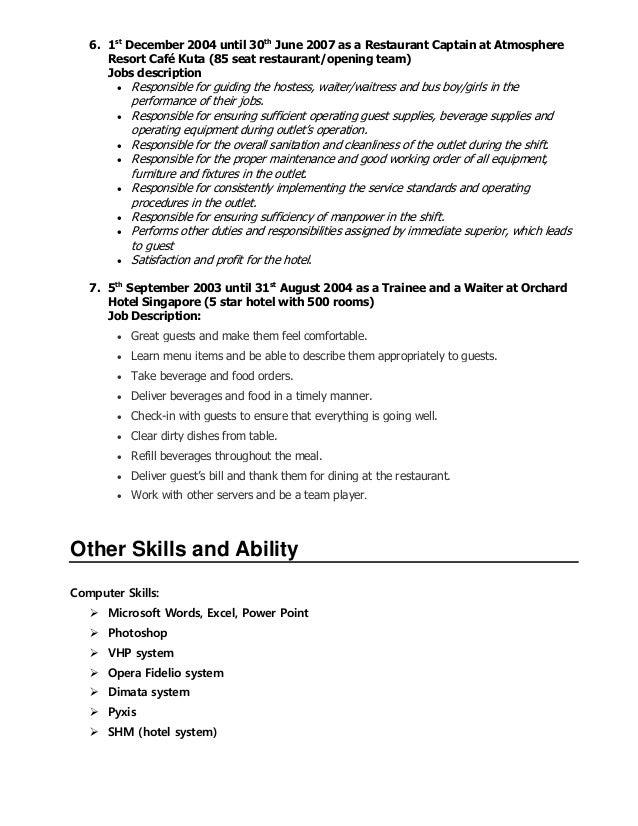 head waitress job description