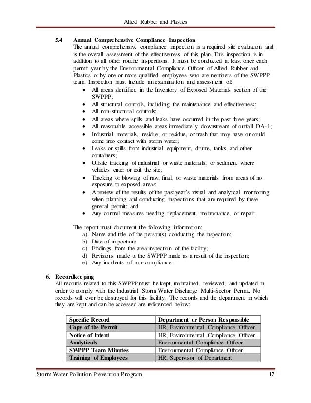 Storm Water Conductor : Allied rubber and plastics swppp doc