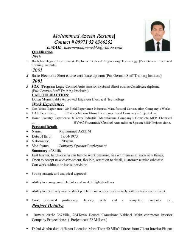 up date resume mohd azeem