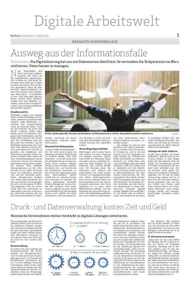 Digitale Arbeitswelt DONNERSTAG, 26. FEBRUAR 2015 1 BEZAHLTE SONDERBEILAGE Ausweg aus der Informationsfalle Datenchaos. Di...