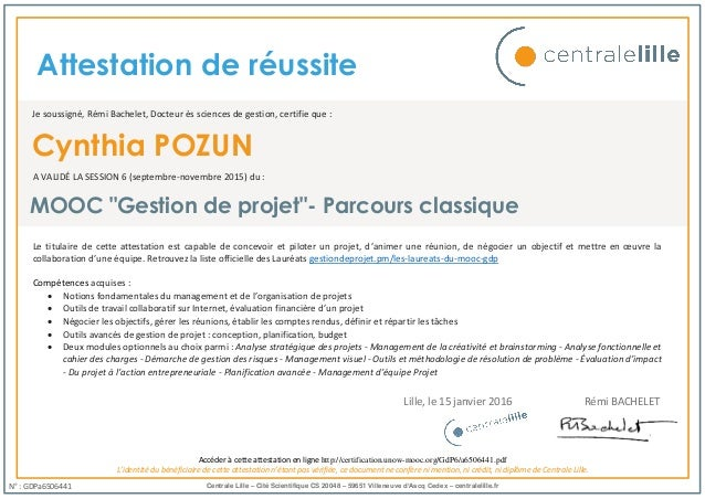 project management mooc centrale lille certification
