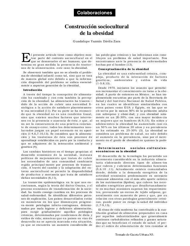 Colaboraciones                               Construcción sociocultural                                    de la obesidad ...