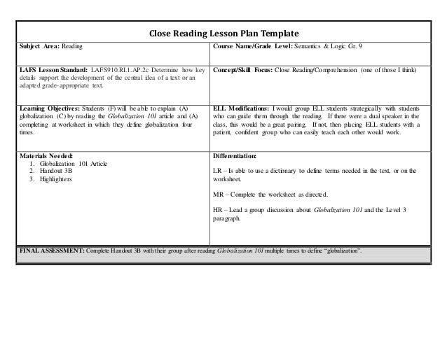 Lesson plan closed reading grade 9 for Close reading planning template