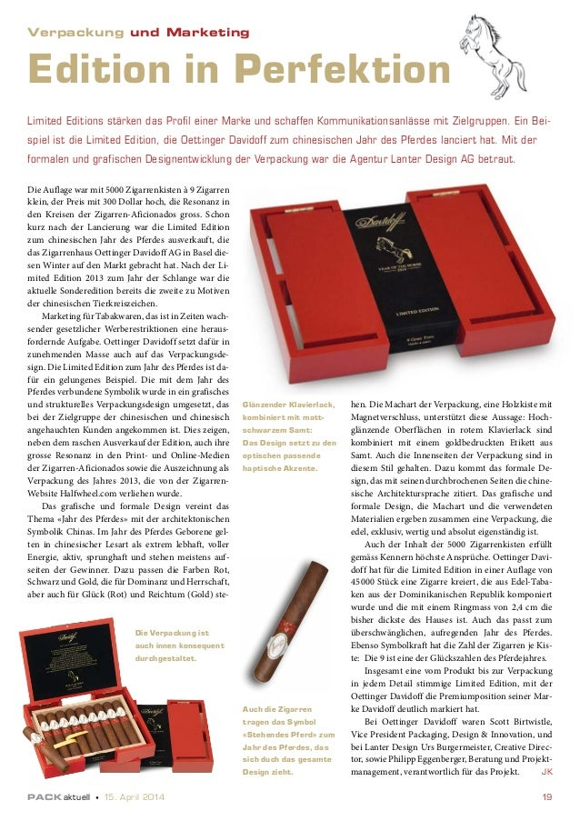 PACKaktuell 15. April 2014 19 Limited Editions stärken das Profil einer Marke und schaffen Kommunikationsanlässe mit Ziel...