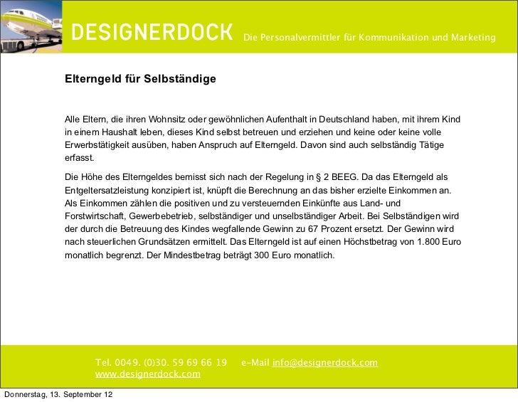 """""""DESIGNERDOCK"""" Elterngeld für Selbständige"""