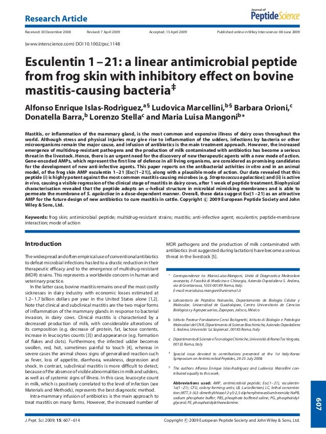 9 esculentin 1–21  a linear antimicrobial peptide from frog skin with inhibitory effect on bovine mastitis-causing bacteria‡ copia 3