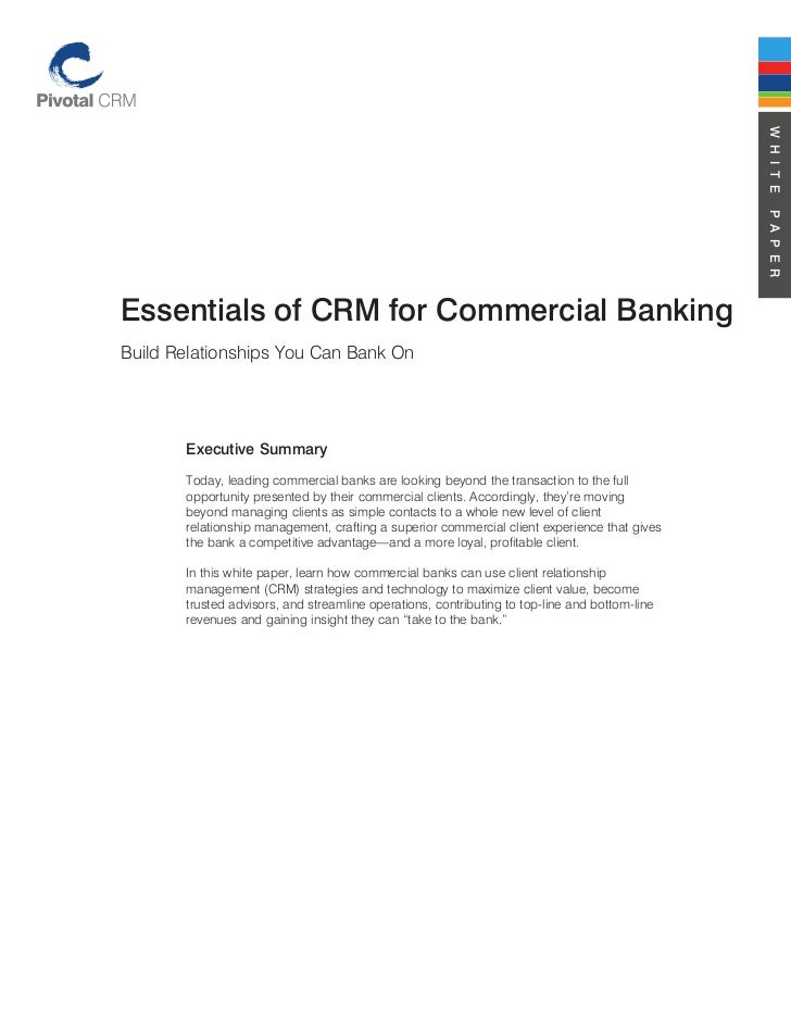 Essentials of crm for commercial banking